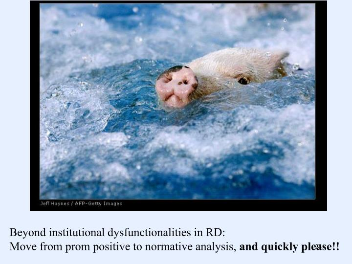 Beyond institutional dysfunctionalities in RD: