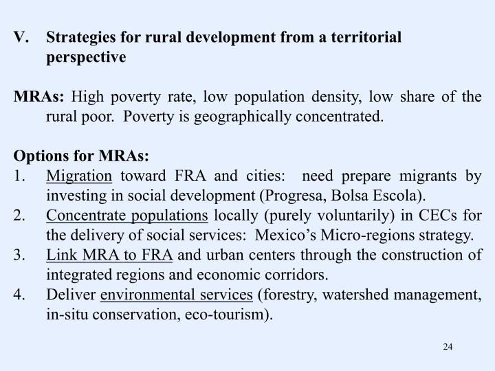 Strategies for rural development from a territorial perspective