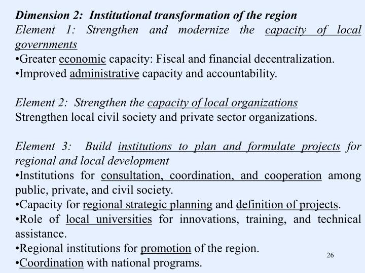 Dimension 2:  Institutional transformation of the region