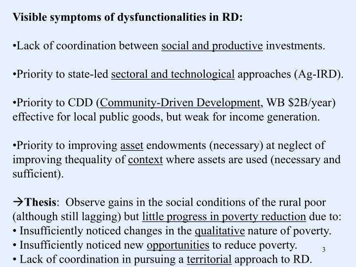 Visible symptoms of dysfunctionalities in RD: