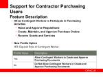 support for contractor purchasing users feature description
