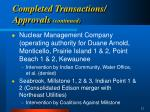 completed transactions approvals continued12