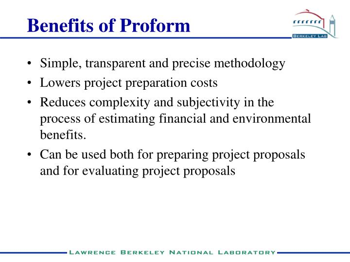 Benefits of Proform