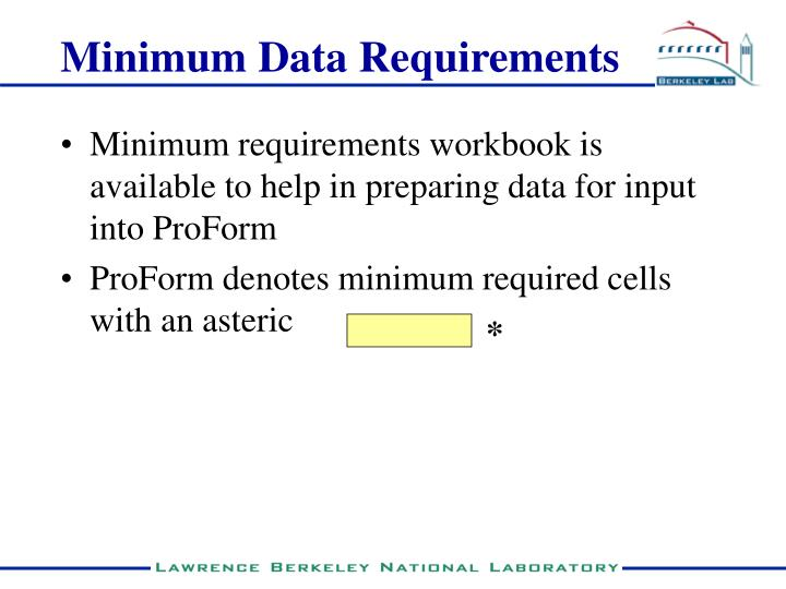 Minimum Data Requirements
