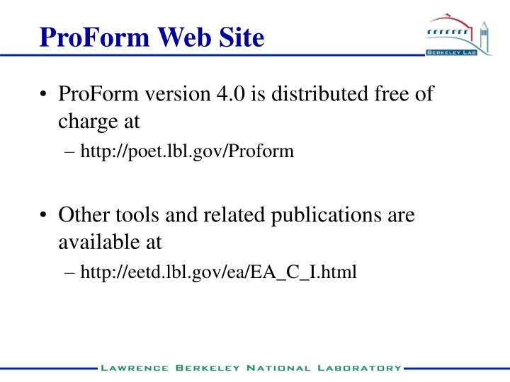 ProForm Web Site