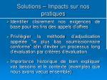 solutions impacts sur nos pratiques