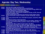 agenda day two wednesday
