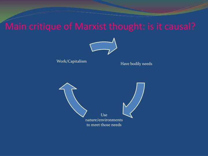 Main critique of Marxist thought: is it causal