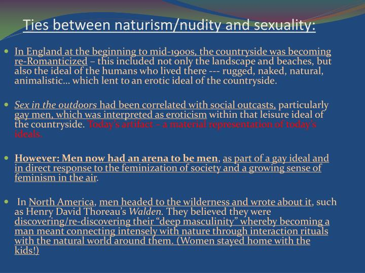 Ties between naturism/nudity and sexuality: