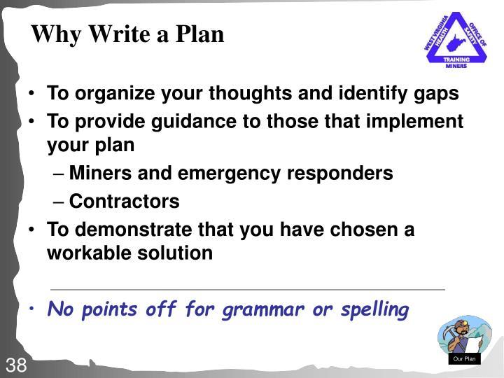 Why Write a Plan