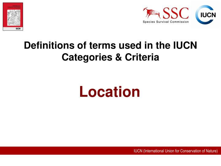 definitions of terms used in the iucn categories criteria n.
