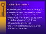 ancient exceptions