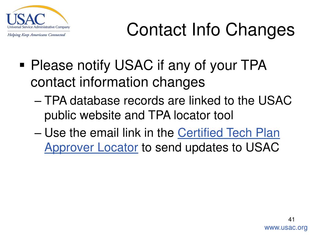 Contact Info Changes