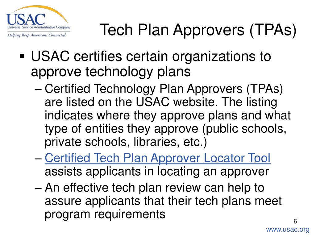Tech Plan Approvers (TPAs)
