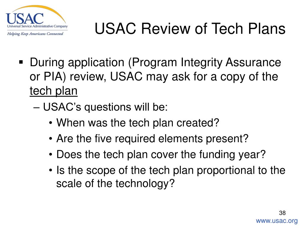 USAC Review of Tech Plans