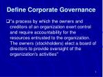 define corporate governance