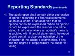 reporting standards continued