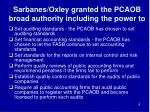 sarbanes oxley granted the pcaob broad authority including the power to