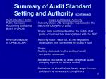 summary of audit standard setting and authority continued