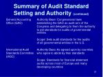summary of audit standard setting and authority continued1