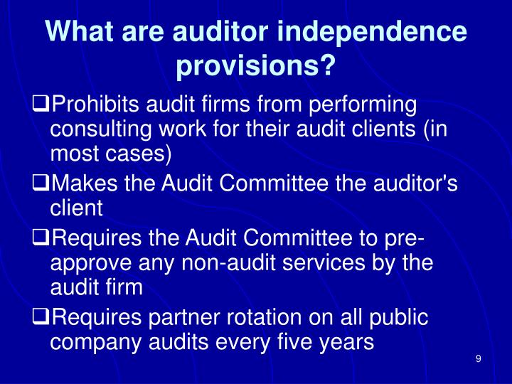 auditors independence Links to items concerning the hot topic auditor independence.
