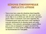 r ponse motionnelle implicite apprise