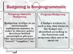 budgeting is nonprogrammatic