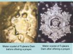 water crystal of fujiwara dam before offering a prayer