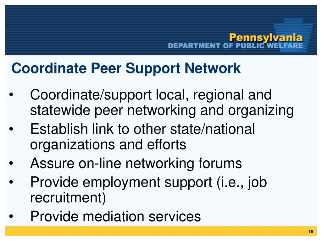 Coordinate Peer Support Network