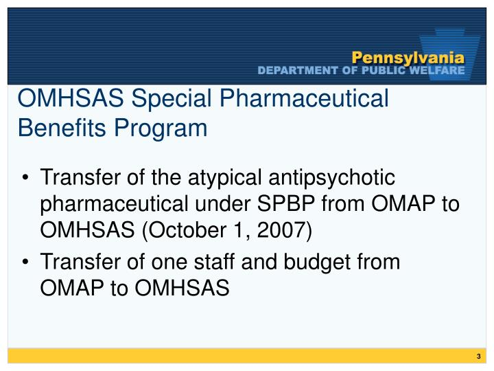 Omhsas special pharmaceutical benefits program