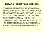 location exceptions methods