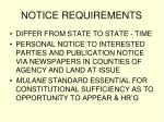 notice requirements