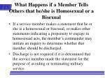 what happens if a member tells others that he she is homosexual or a bisexual