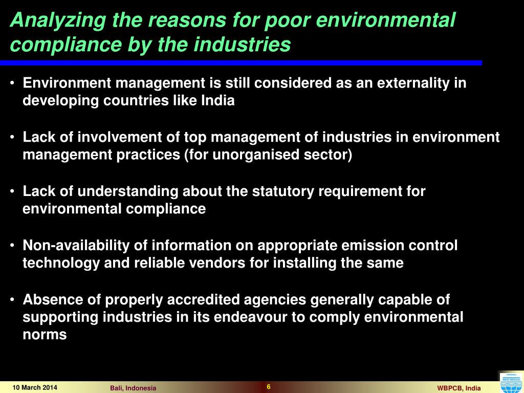 Analyzing the reasons for poor environmental compliance by the industries