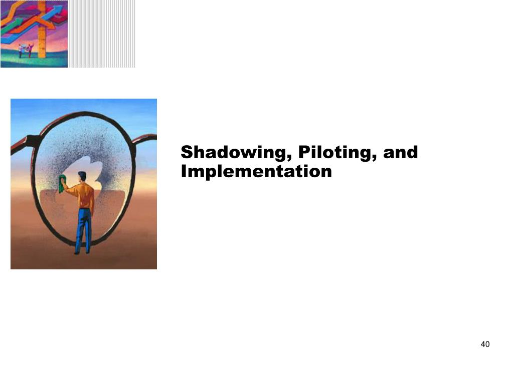 Shadowing, Piloting, and Implementation