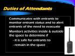 duties of attendants27