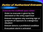 duties of authorized entrants25