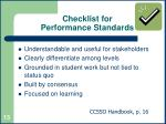 checklist for performance standards