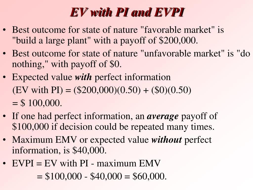 EV with PI and EVPI