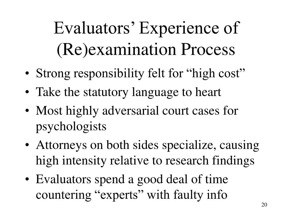 Evaluators' Experience of (Re)examination Process