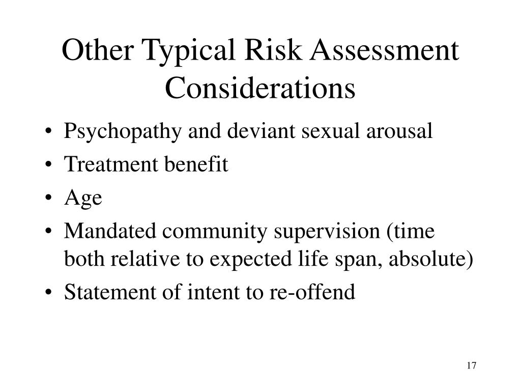 Other Typical Risk Assessment Considerations