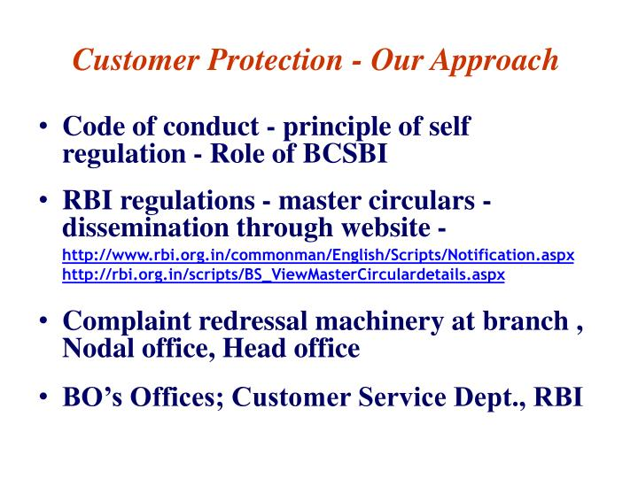 Customer protection our approach