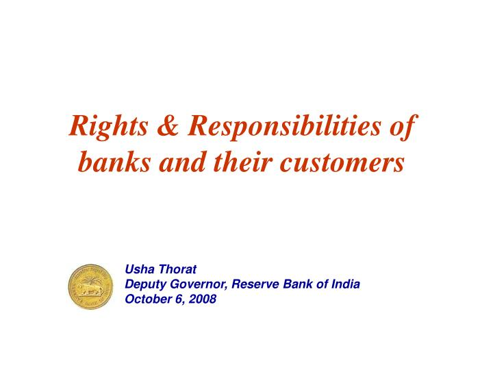 Rights responsibilities of banks and their customers