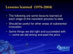 lessons learned 1976 2004