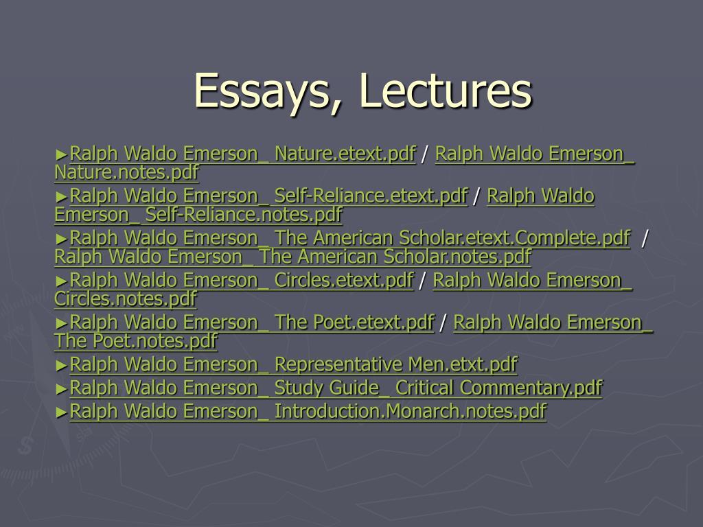 Essays, Lectures