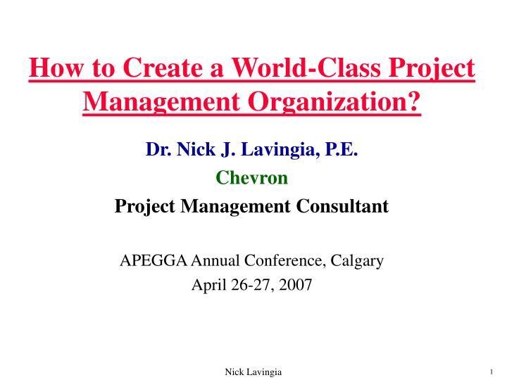 how to create a world class project management organization n.