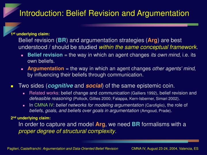 Introduction belief revision and argumentation