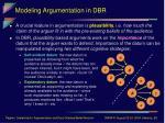 modeling argumentation in dbr10
