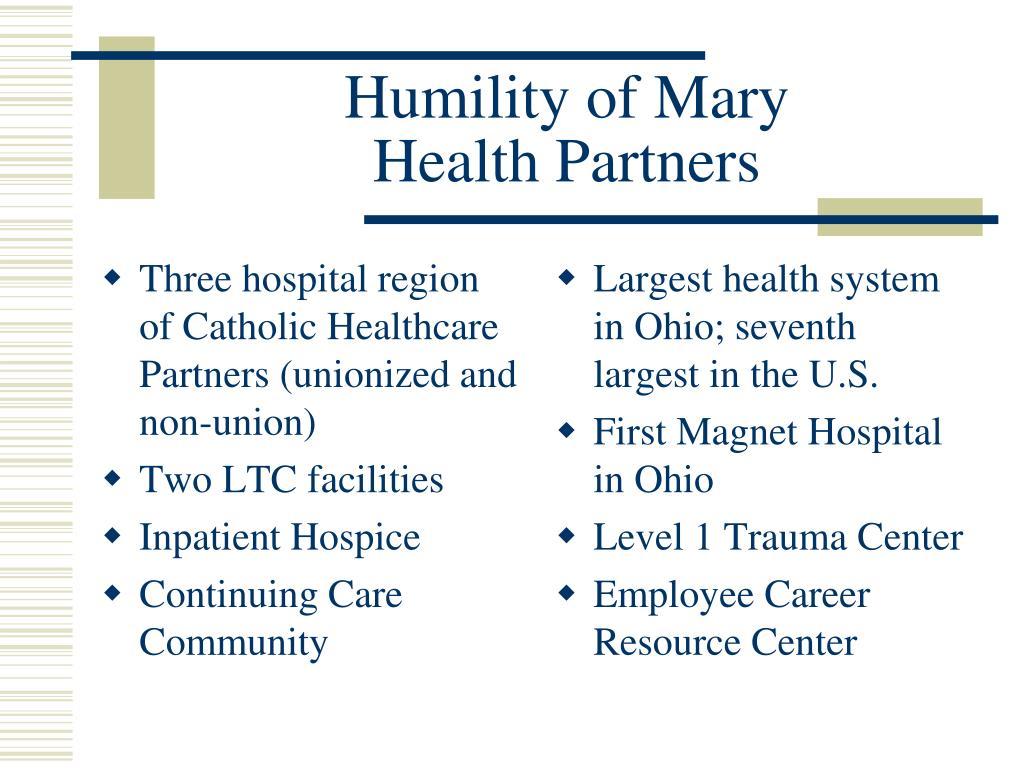 Three hospital region of Catholic Healthcare Partners (unionized and non-union)