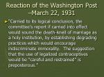 reaction of the washington post march 22 1931